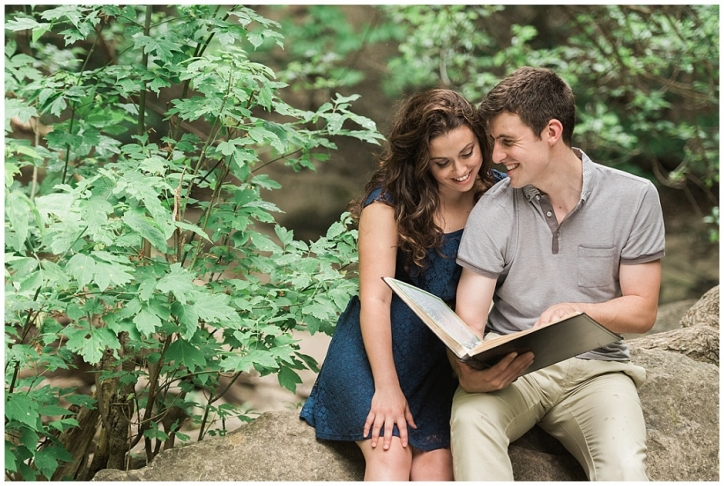 Fiance reads his soon to be wife poetry he has hand written over the course of their relationship