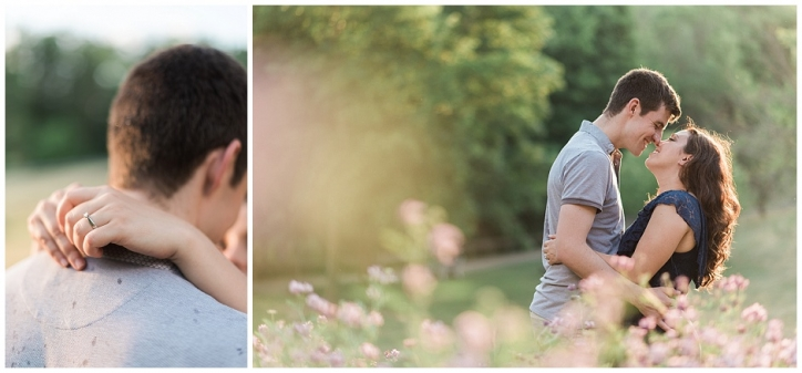 Engaged couple in love with golden sun hitting them perfectly in a patch of wildflowers