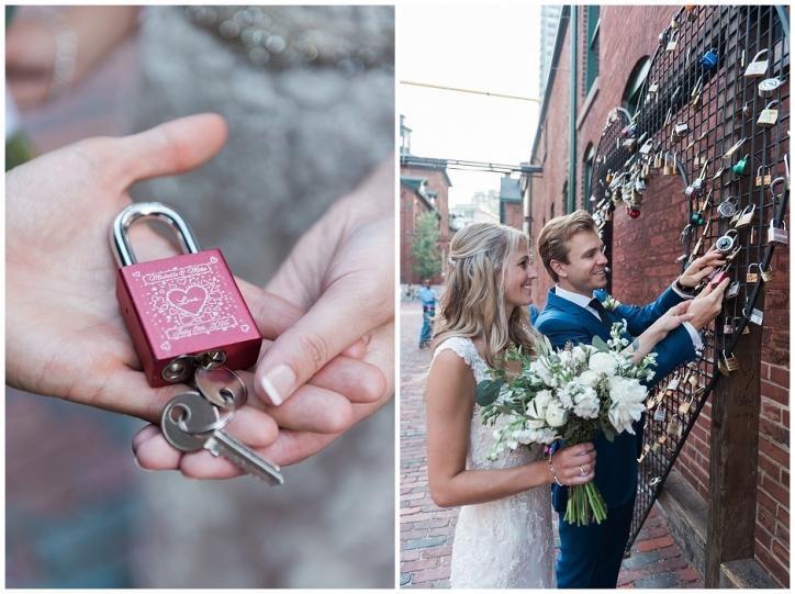 love lock wedding photos, love lock distillery district, distillery district wedding photos, rustic bouquet for laid back bride
