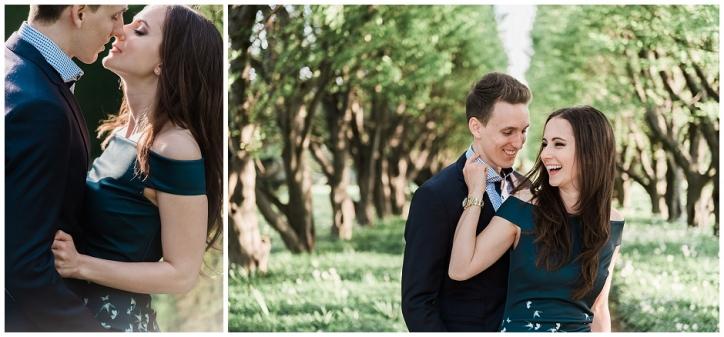 romantic niagara engagement photos, niagara photos spots, sun-kissed engagement photos, tree lined engagement