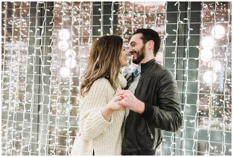 distillery district engagement session, toronto christmas market engagement photos, christmas engagement photos, christmas market engagement photos, balzac coffee engagement photos, twinkle lights engagement photos