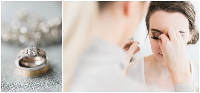 Weddings bands, bride getting ready with eyelashes being put on by makeup artist