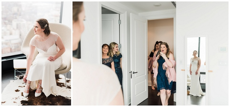 Bridesmaids doing a first look with Toronto bride at Four Seasons hotel Private Residences