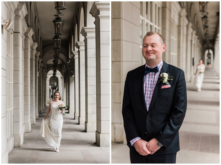 Groom waiting for bride as she walks up behind him for their first look