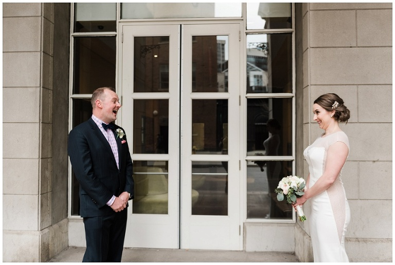 Bride & Groom first look reaction in downtown Toronto