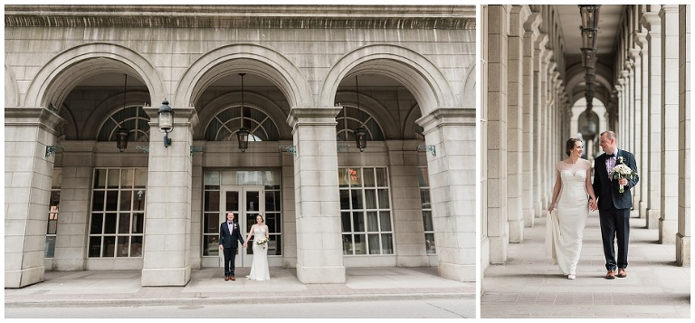 Bride and Groom holding hands in front of Novotel Hotel downtown Toronto before going to their wedding reception at Jump Restaurant