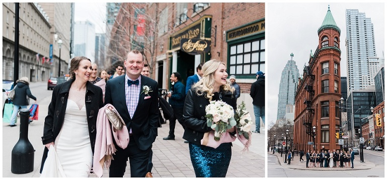 Bride & Groom walking with wedding party during their April wedding in downtown Toronto on the Esplanade before heading to Jump Restaurant for reception