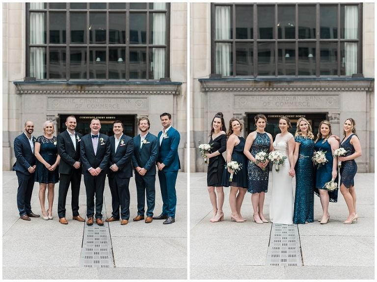 Wedding party photos before entering Jump Restaurant wedding