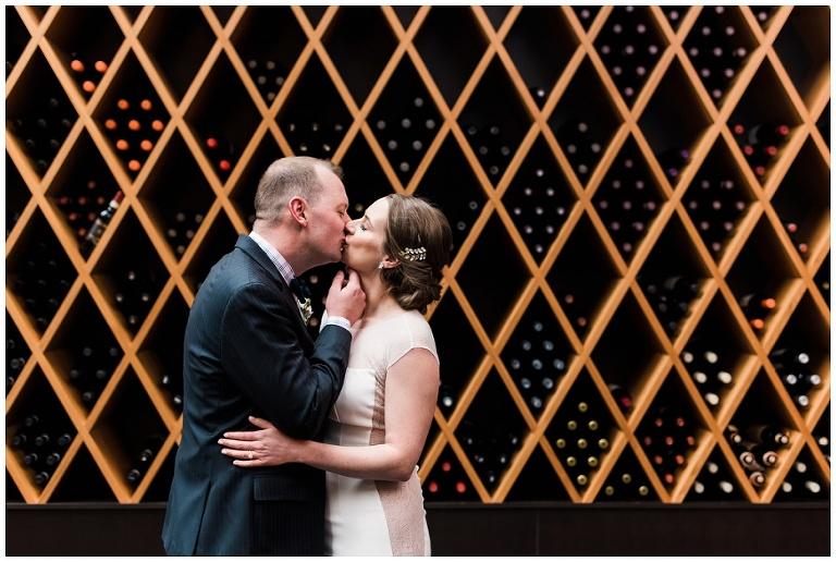 Bride & Groom portrait inside Jump Restaurant wedding