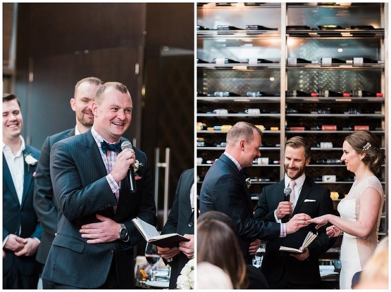 Groom saying vows at Jump Restaurant wedding