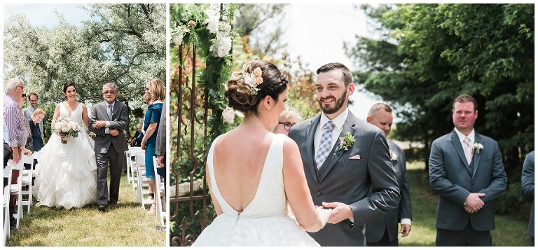 Bride walking down aisle at outdoor ceremony space for their Kurtz Orchard wedding