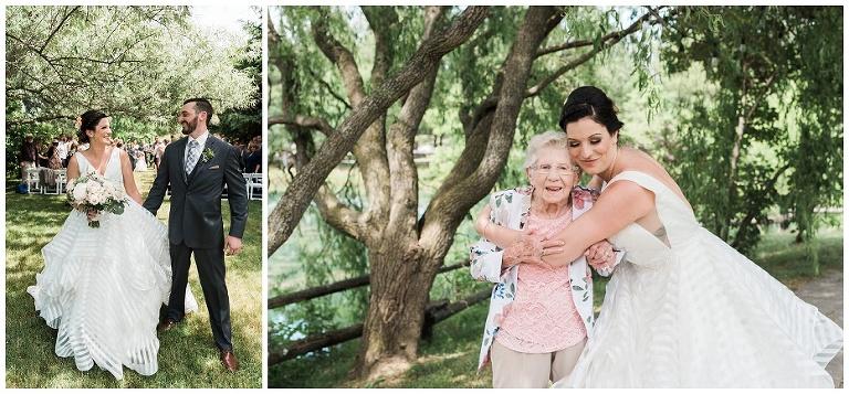 Bride hugging her grandma after ceremony at Kurtz Orchard wedding