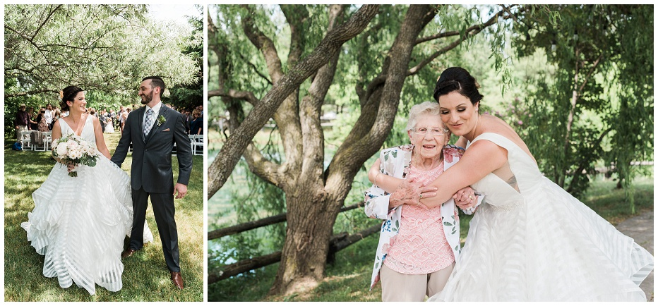 Bride hugging her grandma after ceremony at Kurtz Orchard wedding