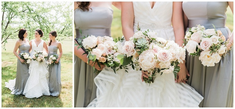 Bridemaids posed holding Bouquets from Wild North Flowers at Kurtz Orchard wedding