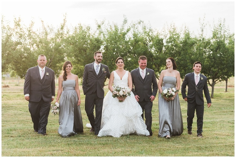 Seven person wedding party walking together in front of orchard at Kurtz Orchard wedding