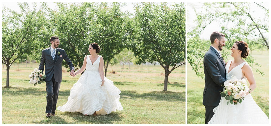 Bride and groom portraits in orchard at Kurtz Orchard wedding