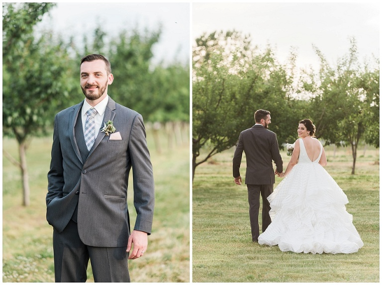 Bride and groom walking away from camera in golden light at Kurtz Orchard wedding