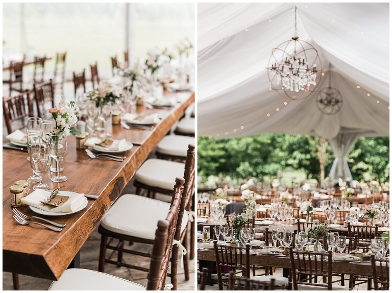 Table settings inside white tent at at Kurtz Orchard wedding