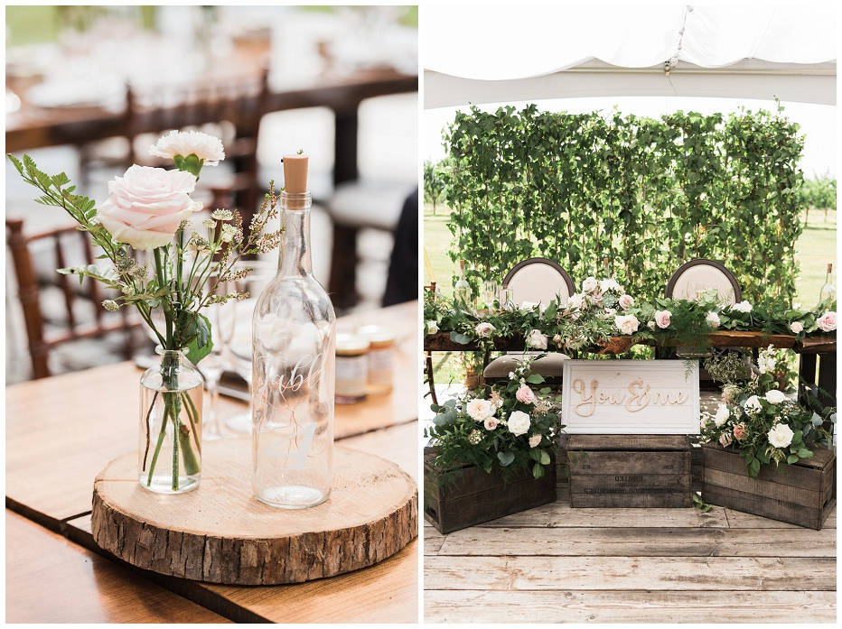 SIngle flower centerpieces and a head table adorned on flowers at Kurtz Orchard wedding