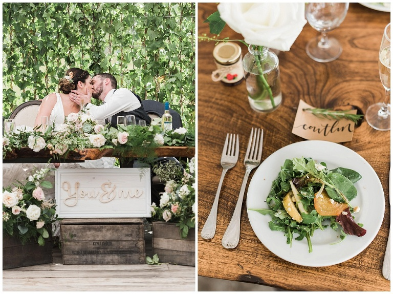 Table setting on live edge wooden table with calligraphy name tag and a salad at Kurtz Orchard wedding