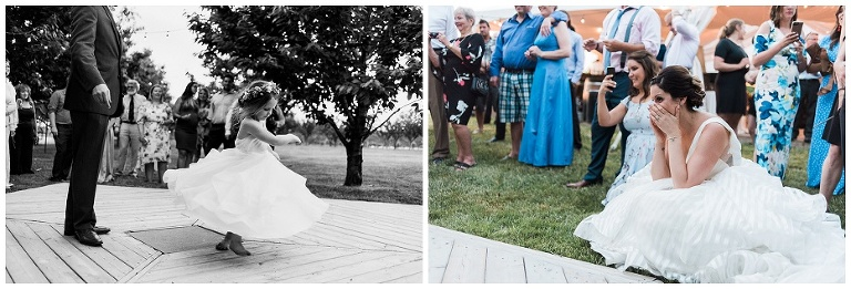 Bride watching young daughter having a first dance with her father at Kurtz Orchard wedding