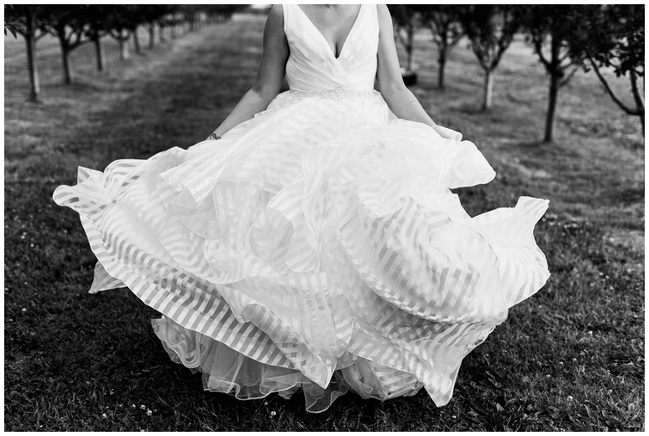 Bride swaying her Morilee wedding dress back and forth in the orchard at Kurtz Orchard wedding