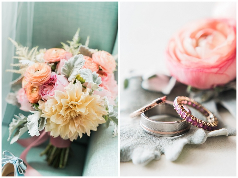 Colourful wedding bouquet from Dereves Floral and wedding bands placed nicely for photograph