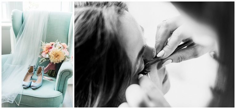 Close up of makeup artists hands putting on fake eyelashes on bride