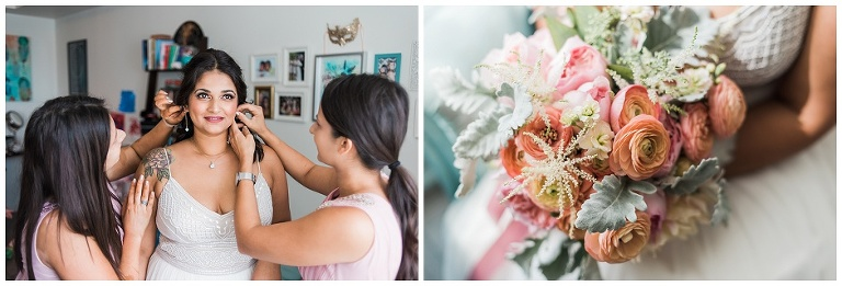 Brides' sisters helping her put on jewelry and close up of brides flowers before city hall wedding