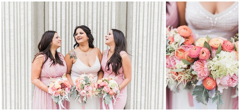 Bride and sisters laughing together, close up of Dereves floral bouquet