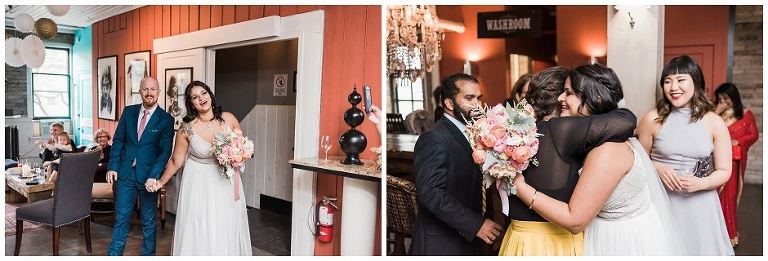Bride and groom entering their reception at The Lodge on Queen