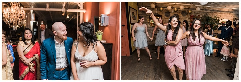 Bride and groom laughing while sisters dance for a part of their speech at The Lodge on Queen