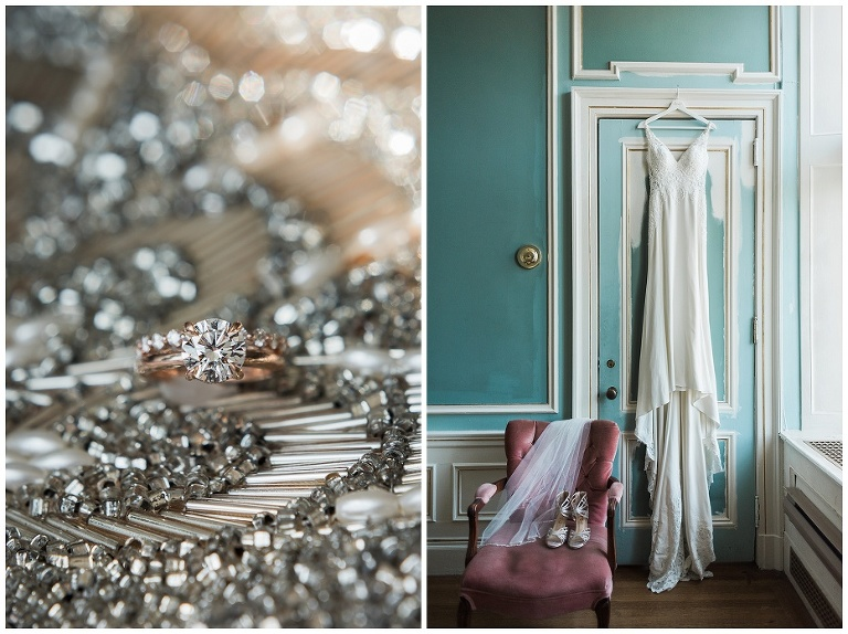 Bride's dress hung on teal door in bridal suite at her Casa Loma wedding