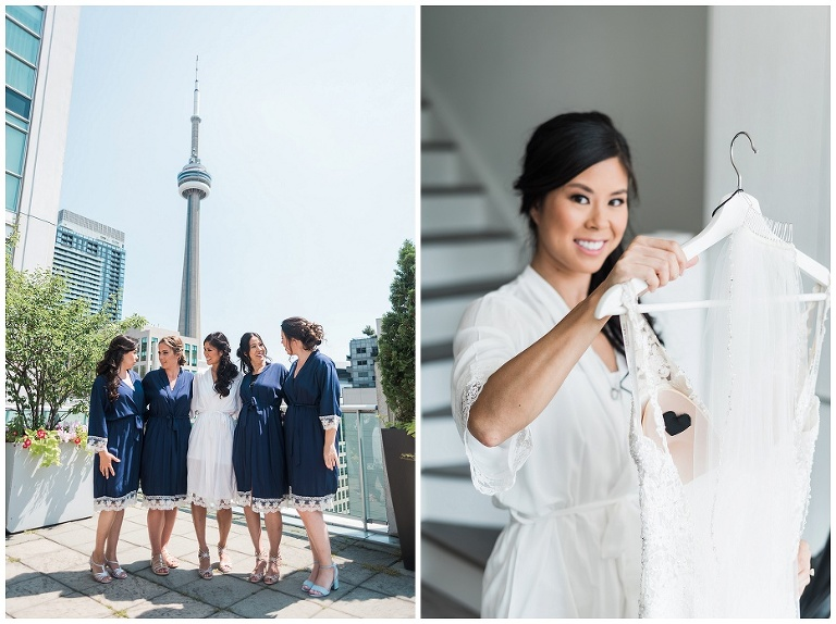 Bridesmaids laughing together on rooftop with CN Tower in background