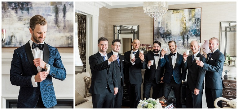 Groom adjusting his watch and then having a drink with groomsmen and having a toast with them