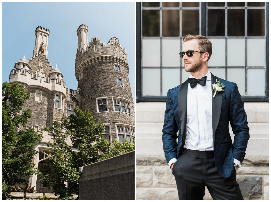 Groom stands for portrait of himself looking away from camera in front of Casa Loma architecture