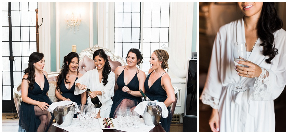 Bride opening a bottle of champagne with bridesmaids in bridal suite at Casa Loma