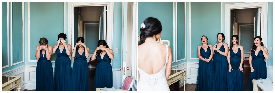 First look with bridesmaids in bridal suite at Casa Loma wedding