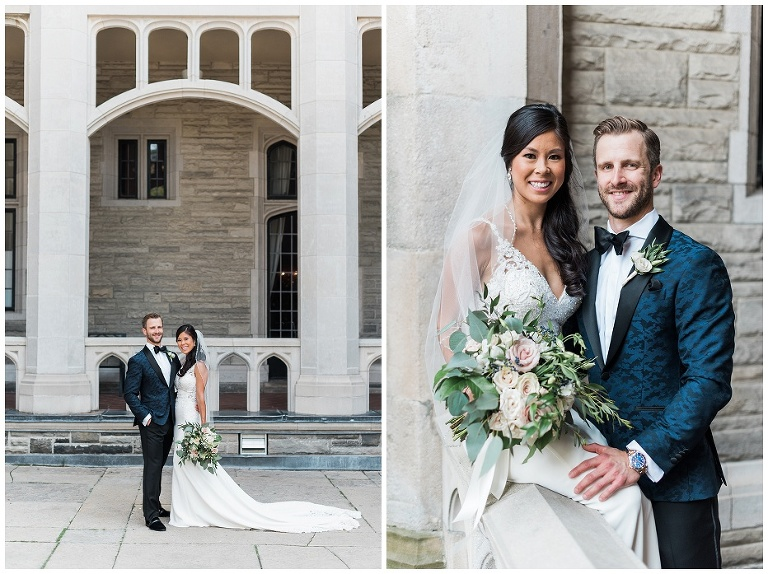 Bride and groom post for portraits in front of Casa Loma
