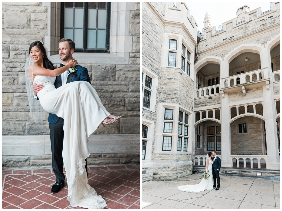 Bride and groom portraits in front of Casa Loma before their wedding inside