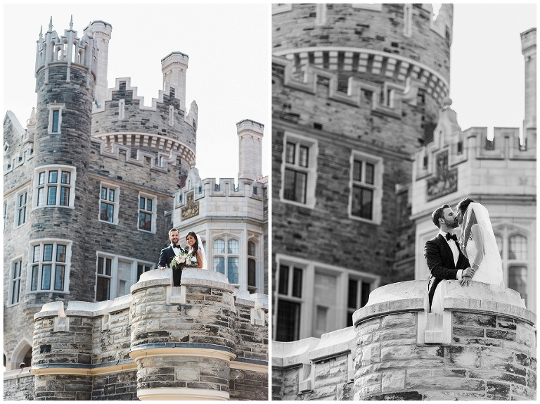 Bride and groom portraits with the castle in the background