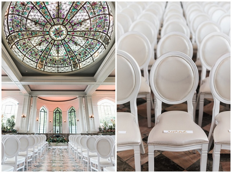 Gorgeous ceremony space inside of Casa Loma with stained glass dome