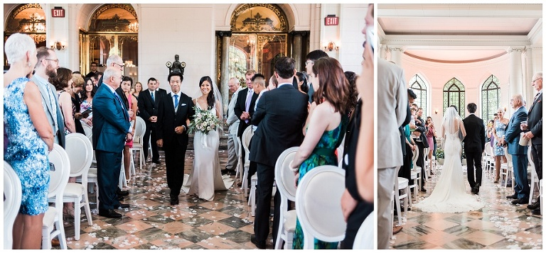 Bride walking down the aisle at her indoor Casa Loma ceremony with her brother