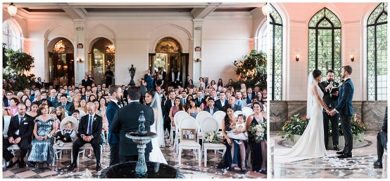 Wedding ceremony inside the conservatory at Casa Loma