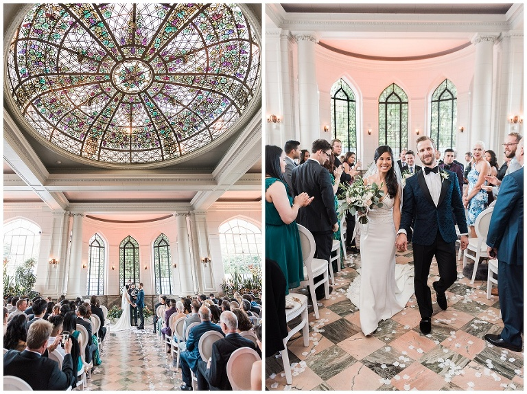 Bride and groom get married inside the Conservatory inside Casa Loma