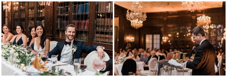 Bride and groom laughing during speeches at wedding