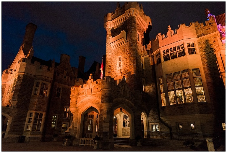 Night time photograph of Casa Loma lit up at night