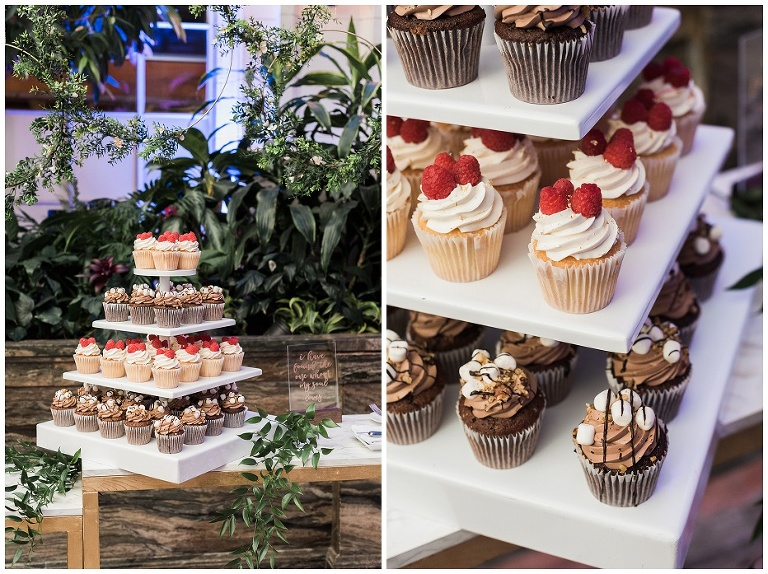 Four layered cupcake tower inside the conservatory at Casa Loma