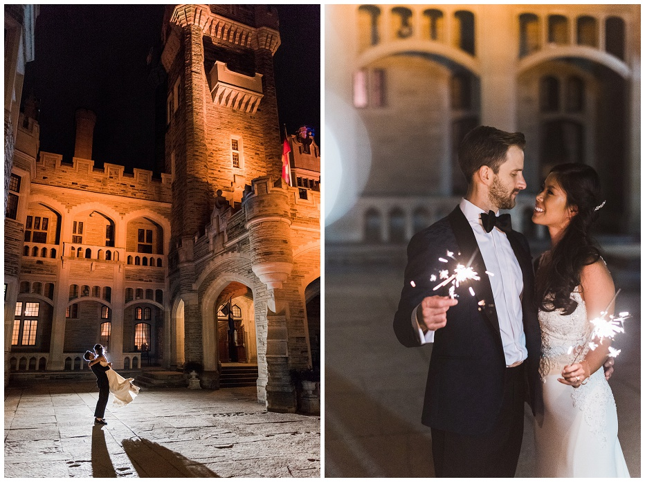 Night time photographs of bride and groom outside of Casa Loma holding sparklers